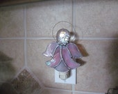 """Angel Night Light in Pink Wispy Iridescent Glass - 5.25"""" x 4.25"""" - Large Fractured Glass Gem"""