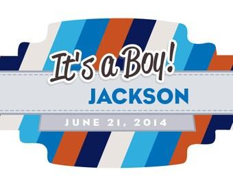 16 It's A Boy Cigar Bands - Custom Printed Labels - Striped Crest