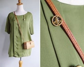 Vintage 80's Slouchy Olive Green Nautical Blouse Top M L or XL