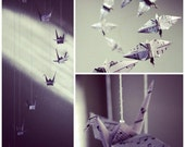Music Notes Spiral Origami Crane Mobile