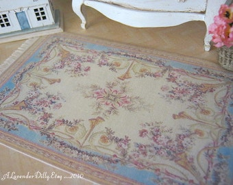 M Blue Aubusson Fringed Rug for Dollhouse.