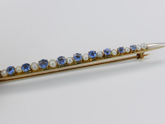 Victorian Edwardian 14K White & Rose Gold Pearl Sapphire Brooch Pin Circa 1890s