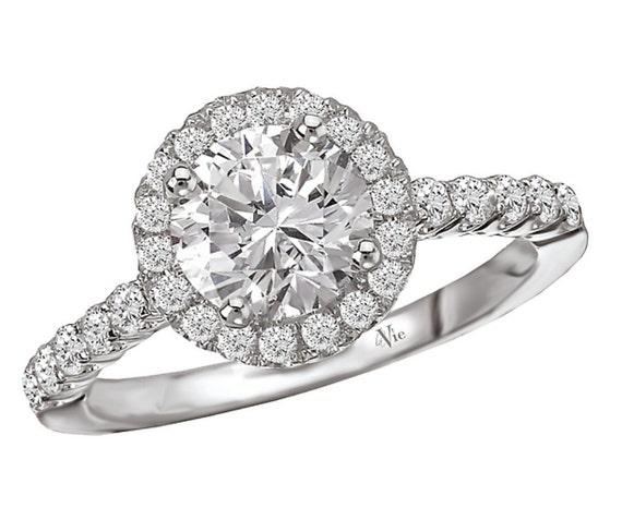 14KT White Gold Halo Diamond Engagement Ring Setting Semi-Mount