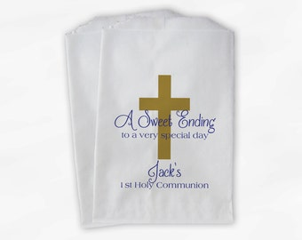 First Communion Favor Bags - Baptism or Religious Party Custom Favor Bags - Set of 25 Gold and Royal Blue Paper Treat Bags (0073)