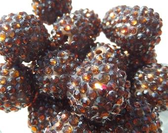 20mm, 10CT, Coffee Rhinestone Gumball Beads, G12