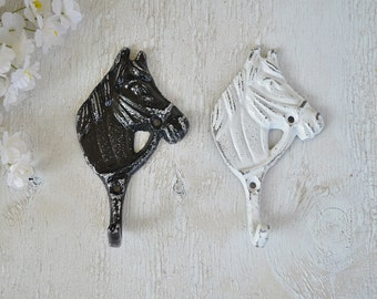 2 Cast iron Horse Head Hook,Wall Hook,Coat Hook,Key Hook,Robe Hook,