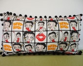 Betty Boop Pillow in Black, White, Red, and Yellow