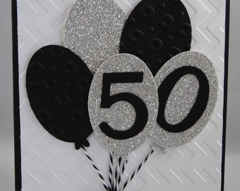 Handcrafted 40th, 50th, 60th Balloons Birthday Card