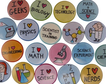 Science Fair - Pick your 4 Science Pinback Buttons - Scientist, Test Tube, Beaker, Physics, Chemistry, Math, Biology, Computer Science Pins