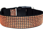 "Orange Rhinestone Dog Collar 1"" or 1.5"" Halloween Dog Collar"