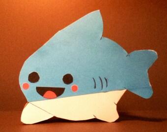 Handmade Kawaii Shark Card- Cardstock