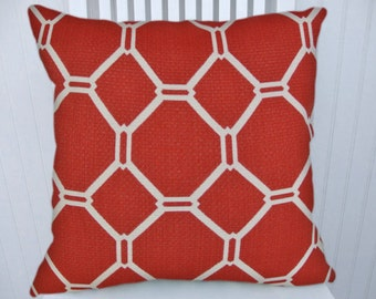 Red Geometric  Pillow Cover--NEW!! 18x18 or 20x20 or 22x22- Throw Pillow - Decorative Accent Pillow Red and White