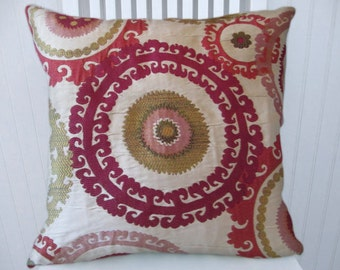 Fuchsia Suzani Pillow Cover -- 18x18 or 20x20 or 22x22 Gorgeous Throw Pillow--Pinks, Green, Berry, Taupe