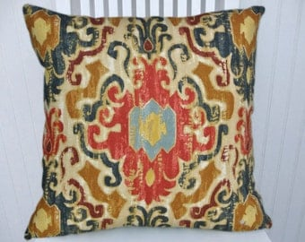 Blue Red IKAT Pillow Cover--18x18 or 20x20 or 22x22-Duralee Designer Accent Pillow--  Red, Blue, Brown, Yellow.