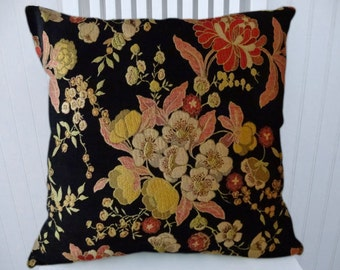 Black Chenille Decorative Pillow Cover--18x18 or 20x20 or 22x22--Floral Throw Pillow Cover- Accent Pillow Cover