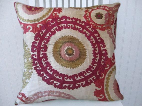 Fuchsia Suzani Pillow Cover -- 18x18 or 20x20 or 22x22 Gorgeous Throw Pillow--Pinks, Green, Berry, Taupe