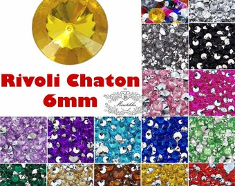 100 -500 PCS 6mm Mixed Color Rivoli Chaton Pointed Back Rhinestone Assorted Round Crystal Clear Acrylic Cabochon Nail Art Craft Supply ED6