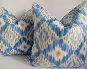 Geometric Blue Gray Pillow Cover, Blue White Pillow Cover, Decorative Blue Pillow