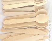 50 UNSTAMPED wood utensils-stamp your own-choose standard spoons,forks,knives, or taster spoons-