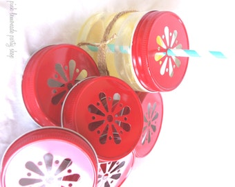 ReD DaiSy CuT MaSoN JaR LiDS---6ct--use on regular mouth mason jars with paper straws-parties-weddings-showers