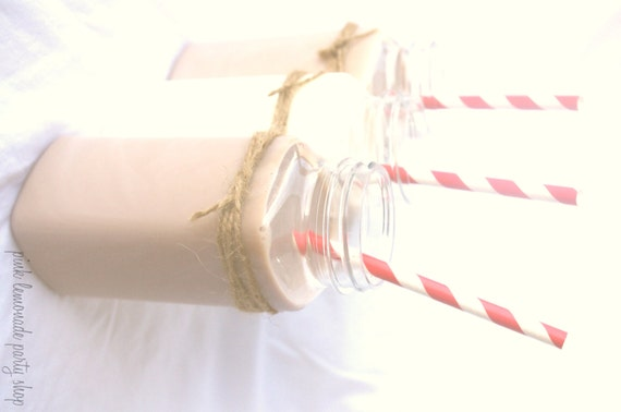 12 FRENCH SQUARE MiLK BOTTLES with lids and Chalkboard Labels -Plastic--8 oz---