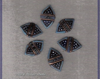 Cobalt blue and turquoise  ceramic buttons - 6 little buttons - islamic style - white dotted- 1 x 0.6 inch - made to order