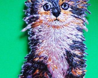 emroidered iron on applique-cat