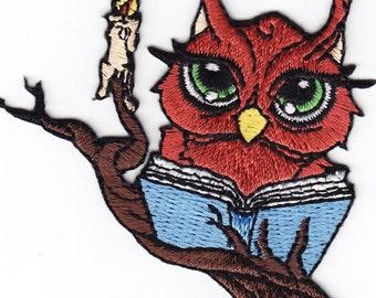 OWL READING book iron on applique