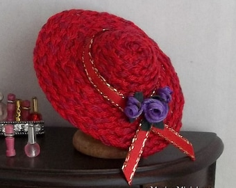 Red Hat with Purple Roses in 1:12 Scale for Dollhouse Miniature Milliner or Society Lady