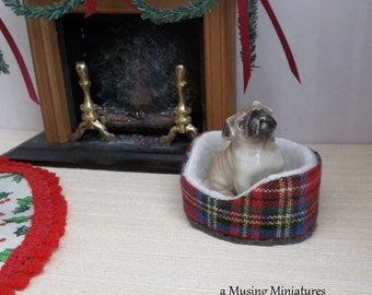 Red Plaid Dogbed for Small Breeds in 1:12  Scale for Dollhouse Miniature Roombox or Pet Store