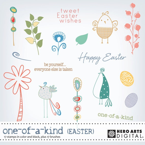 Instant Download Hero Arts One of A Kind DK035 Easter Bird Digital kit