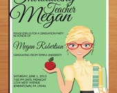 Teacher / Education Degree Graduation Party Invitation Cards PRINTABLE DIY