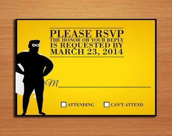 Super Hero Movie Poster Wedding RSVP Postcard PRINTABLE / DIY
