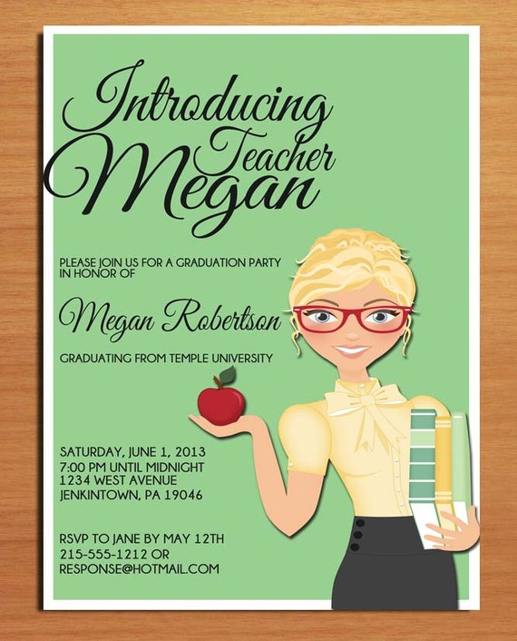 teacher  education degree graduation party invitation cards