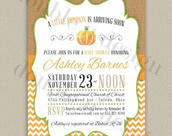 Little Pumpkin Baby Shower Invitation - Printable Chevron Invitation with Color Options