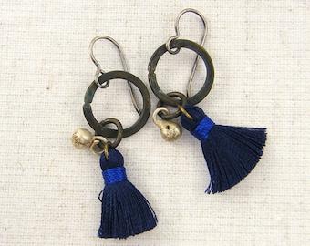 Tassel Earrings - Bohemian Jewelry Rustic Tribal Blue Brown Silver Mixed Metal Brass Hoop Jewelry