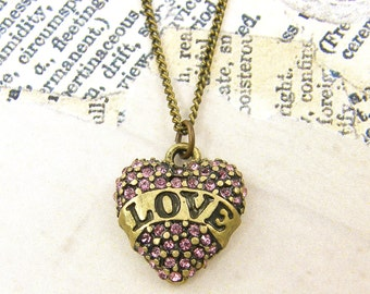 Rhinestone Heart Necklace Love Pendant Necklace Antique Brass Pink Crystal Charm Necklace with 20 inch Antique Brass Chain |NC1-23