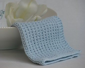 Hand knitted dish cloth - wash cloth - soft cotton light blue sky