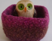 wee felted wool bowl container ring holder magenta brown plum square