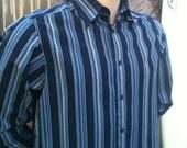 Men's Vintage Blue Stripe Long sleeve Dress Shirt  Size Large NM