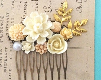 Cream Wedding Hair Comb Ivory Flower Collage Bridal Comb Bridesmaid Gold Leaf Sprg Branch Shabby Chic Floral Vintage Style Head Piece WR JW
