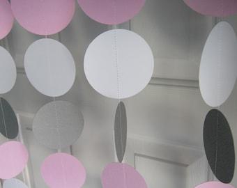 Pink and Gray Garland, Paper Garland, Birthday Garland, Bridal Shower Garland, Baby Shower Decorations, Elephant Theme Shower