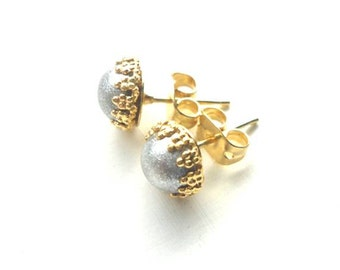 Silver Gold Studs - Minimalist Chic Earrings - Shimmery Metallic Posts - Simple Handmade Jewelry