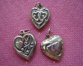 Vintage Sterling Silver Heart Motif Heart Charms