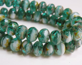 Emerald Green and White swirls golden brown Picasso finish fire polished Czech faceted glass rondelle beads 8x6mm half strand NR-1027