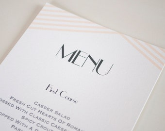 Modern Soft Peach and Black Wedding Menu, Great Gatsby - Customizable