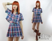 Matching Set Two Piece Set Two Piece Outfit Separates Cropped Top High Waisted Skirt Vintage 90s Blue Plaid Crop Top + Skirt Outfit XS S