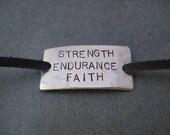 STRENGTH ENDURANCE FAITH Wrap Bracelet - Inspirational Jewelry - Nickel Silver Pendant on 3 feet of Micro Fiber Suede - Faith Jewelry - Shoe