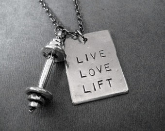 LIVE LOVE LIFT Barbell Necklace - Workout Necklace on Gunmetal chain or Stainless Steel Ball chain - Unisex Workout - Fitness - Lift - Gym