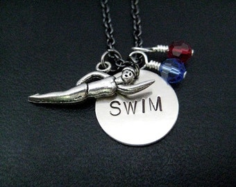 SWIM Girl SWIM with 2 Team Color Crystals - Swimming Necklace with Swimmer Girl and Swim Charm and 2 Swarovski Crystals on Gunmetal Chain